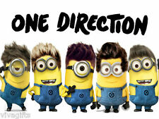 WHITE COTTON One Direction 1D Minions Iron On Transfer - TShirt Crafts 13x9cms