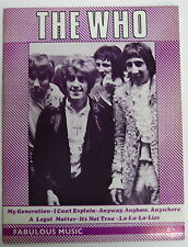 The WHO Fabulous Music 1965 UK ORG Songbook MOD Townsend Daltrey Moon Entwhistle