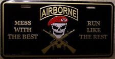 Aluminum Military License Plate Mess with Best Run like Rest Airborne NEW