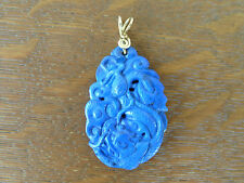 Chinese Natural Lapis Carved Dragon Phoenix Necklace Pendant