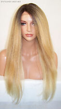 Yaki Blonde Dark Roots Lace Front Wig Heat OK Iron safe Long Straight Yaky Dyn