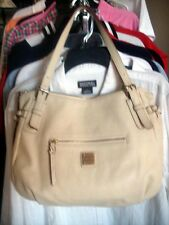 DOONEY & BOURKE Cream Ivory Leather Large Nina Shoulder Bag Tote