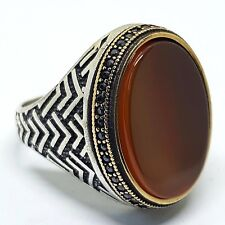 AAA 925 sterling silver mens ring middle eastern jewelry red agate carnelian