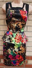 BOOHOO BLACK MULTI COLOUR FLORAL SATIN PEPLUM RUFFLE BODYCON TUBE DRESS 14 L