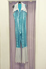 Women's 70's Abba  Disco Diva Blue Silver Jumpsuit With Hat  10 / 12  (348)