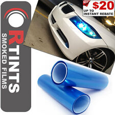 """Pro 36""""x12"""" Blue Smoked Tint Film Sheet Vinyl Overlay EDM Covers for Fiat & more"""