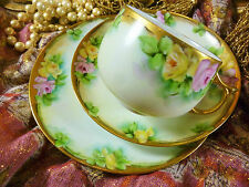 BAVARIA JAEGER TEA CUP AND SAUCER TRIO H. P.  PINK & YELLOW ROSES LUSH GOLD TRIM