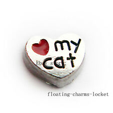 10pcs Love my cat Floating charms For Memory Glass Locket Free shipping FC037