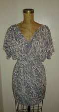 BCBG Blousey Draped Purple White Animal Print Tight Mini Skirt Dress Sz XS