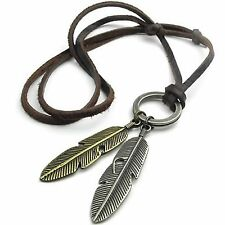 MENDINO Men's Women's Alloy Leather Pendant Necklace Angel Feather Adjustable