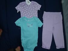NWOT Baby Girl 3pc. Onecies/Legging Set by Koala Baby, 12 months, Lavender/Teal