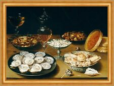 Dishes with Oysters, Fruit, and Wine Osias Beert der Ältere Muscheln B A3 02950