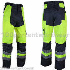 "Size 27"" W SHORT Leg Panoply MHPAN High Hi Vis Viz YELLOW Work Trousers Pants"