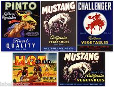 5 FRUIT BOX CRATE LABELS VINTAGE LOT ORIGINAL COWBOYS WESTERN HORSES 1940S 50S