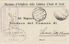 A1478) WW1, DIREZIONE D'ARTIGLIERIA DELLA FABBRICA D'ARMI DI TERNI. VIAGGIATA.