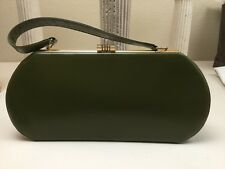 True Vintage 1950s Normandie Olive Green Leather Clutch Purse Bag Made In Canada