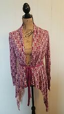 Field Flower ANTHROPOLOGIE purple cotton blend floral print cardigan sweater S