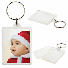 PACK OF 2 x CLEAR ACRYLIC PLASTIC BLANK KEYRINGS 50mm x 40mm INSERT PHOTO