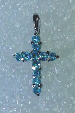 Sterling Silver Petite Cross Pendant Cubic Zircornia P1005 Light Blue