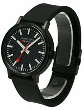 Mondaine A512.30358.64SPB Stop2Go 41mm Black Dial Men Black Rubber Watch New