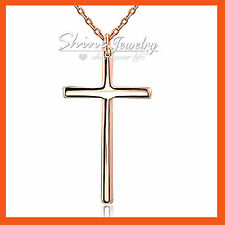 9K PLAIN GOLD GF CROSS CRUCIFIX religion LADIES MENS GIFT SOLID NECKLACE PENDANT