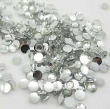 New 800pcs 4mm Facets Resin Rhinestone Gems Flat Back Crystal beads Clear ZE1