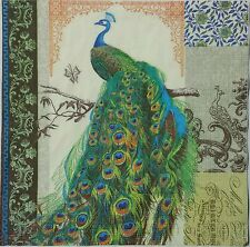Ppd PEACOCK 2 individual  LUNCH SIZE paper napkins for decoupage 3-ply