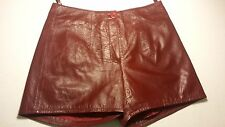 SEXY GENUINE LAMB LEATHER LADIES SHORTS LINED BURGUNDY SOFT LEATHER SIZE: M