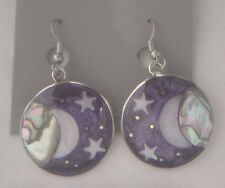 Earrings Planet Moon Star Abalone Shell astral eclipse alpaca new