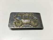 Vintage Money Clip Wells Fargo Stagecoach Silver Gold Tone Etched Raised Logo