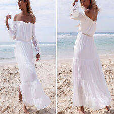 Women Ladies Summer Long Sleeve Strapless Off Shoulder Party Beach Dresses US