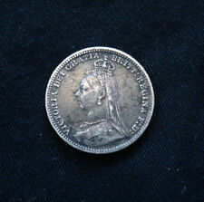 Very rare Jubilee bust variety (not old bust) 1893 threepence. KM#758 Spink 3931