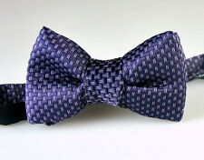 NWT Tom Ford Purple Silver Checks Plaids Pattern 100% Silk Bow Tie