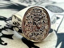 Deep set hand engraved full coat of arms, extra detail, 1 troy oz, signet ring