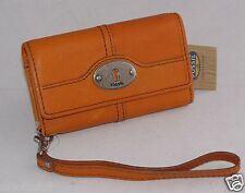Fossil Leather Marlow iPhone SE Wristlet Bright Orange SL3297830 NWT