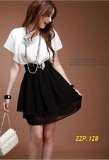 Korean Women Slim lady temperament chiffon Summer dress with belt Free ship