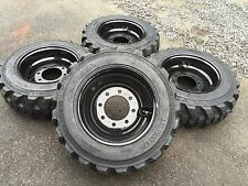 4 NEW 10-16.5 Skid Steer Tires on Black Wheels/Rims - 10 PLY- for Bobcat & more