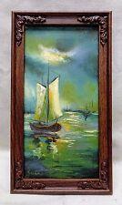 Vintage '73 Jarvis Sailboats Seascape Oil Painting w. Vintage Decorative Frame