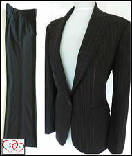 NEXT 10/12 LADIES BLACK PINSTRIPE TROUSER SUIT BUSINESS OFFICE WORK CAREER BNWT