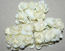 100 beige MULBERRY PAPER ROSE BUDS FLOWER EMBELLISHMENT ARTIFICIAL SCRAPBOOK new