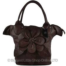 NEW Ladies Quality LARGE ROSE Handbag by Leko Faux Leather PU Tote Shopper Brown