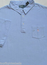 New $95 Polo Ralph Lauren Blue Cotton Mesh Polo Shirt with Pocket / 3XLT