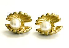 Gold Oyster Shell with Pearl Stud Earrings Sea Shell Pearl Earrings - Gift Boxed