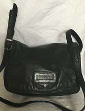 MANZONI Black Leather Cross Body/Shoulder Bag / Handbag