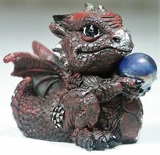 1 x 7cm Burgundy Red Baby Dragon w crystal ball Figurine DRAGBYB 9319844525503