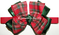 Tartan Plaid Bow Headband Red Green Infant Baby Christmas Scottish Cameron Clan
