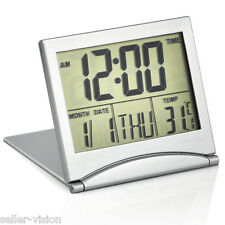 Mini Foldable Digital LCD Alarm Clock with Calendar Temperature Display Snooze