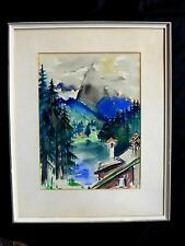 ALFRED ZIETHLOW  1911-2003  SAMOTSCHIN POLEN; ALPINE BERGLANDSCHAFT; AQUAR. 1954