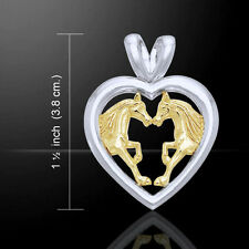 Horses in Love Silver and Gold Pendant by Peter Stone