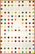 THIRTY SECONDS TO MARS Love Lust Faith + Dreams Ltd Ed RARE Litho Poster! 30STM